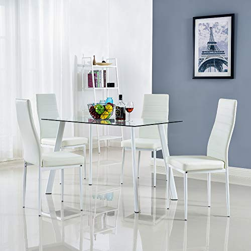 Bonnlo 5 Pieces Dining Set Modern Dining Table Set for 4 Persons Kitchen Dining Table with 4 PU Leather Chairs Dining Room Table with Tempered Glass Top (Dimensions Room Tables Dining)