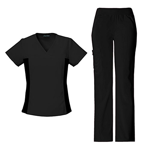 Cherokee Women's Flexibles V-Neck Knit Panel Top 2874 & Pull On Pant 2085 Scrub Set (Black - Large / Large Tall) by Cherokee