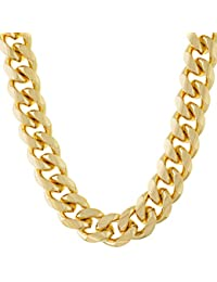 11mm Cuban Link Chain Necklace for Men & Teen 24k Gold Plated with Free Lifetime Replacement Guarantee