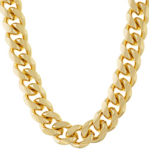 Lifetime Jewelry Cuban Link Chain 11MM Round 24K Gold Plated Thick Necklace Guaranteed for Life 20 Inches
