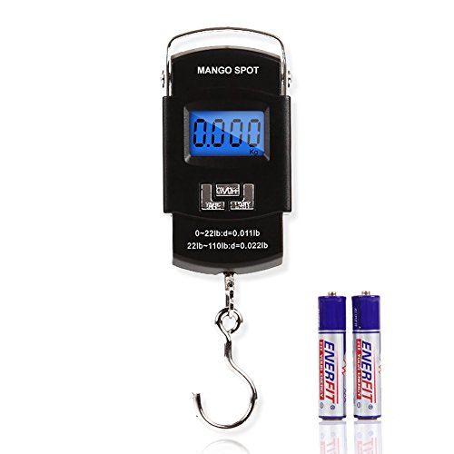 Mango Spot LCD Electronic Balance Digital Fishing Hook Hanging Scale 110 Pound/50 Killogram, 10 Gram , 2 AAA Batteries Included Fish Finders And Other Electronics MANGO SPOT
