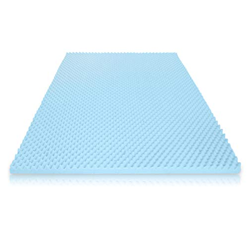 Milliard 2in. Egg Crate Gel Memory Foam Mattress Topper - Queen, Mattress Pad Provides Great Pressure Relief, Gel Infusion Contributes to a Cooler Night Sleep (Queen)