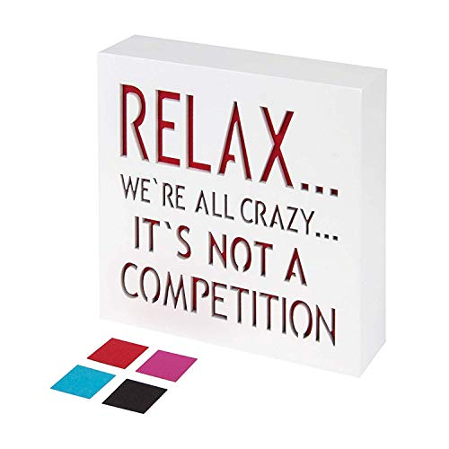KAUZA Relax We're All Crazy Sign - Office Decor Sayings Wall Art Signs Quotes Сubicle Fun Home Decorations Accessories for Your Desk 5,5 x 5,5 Inch -