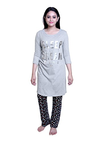 TRAZO Premium Quality Stylish Thought Printed Round Neck Full Sleeves Grey Long Cotton T Shirts For Women