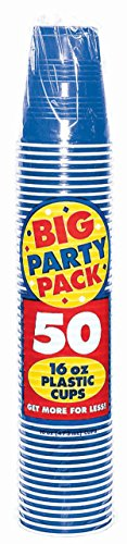 Big Party Pack Bright Royal Blue Plastic Cups | 16 oz. | Pack of 50 | Party -