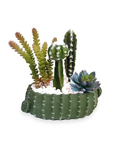 Suculenta Arranjo Flor Artificial Vaso Verde Cerâmica Cacto