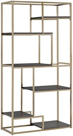 Furniture of America Corley Contemporary 6 Shelf Bookcase, Champagne