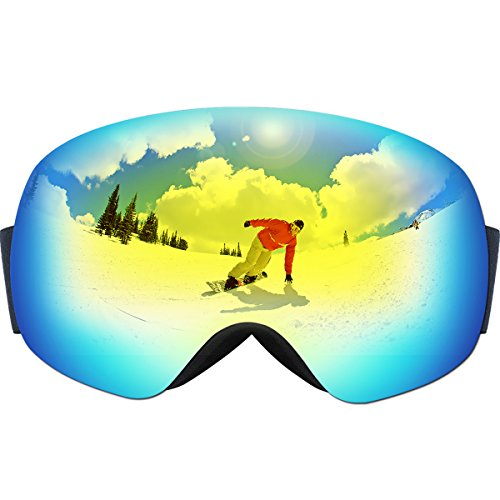 OMorc Ski Goggles Anti-Fog & 100% UV400 Protection OTG Snowboard Goggles, Big Spherical Dual Lens Snowmobile Ski Glasses For Men, Women, Adult & Youth, Winter Snow Skate Motorcycle Bicycle