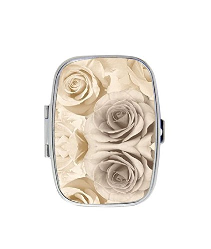 Beige Rose Floral Flower Custom Personalized Pill box Decorative Metal Medicine Drug Container Case Pocket or Purse