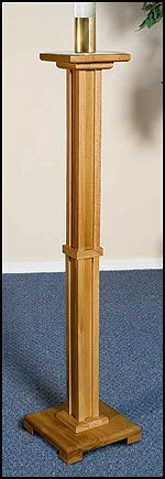 Wood Church Paschal Candleholder Candle Stand 2 Inch Brass Socket by US Gifts