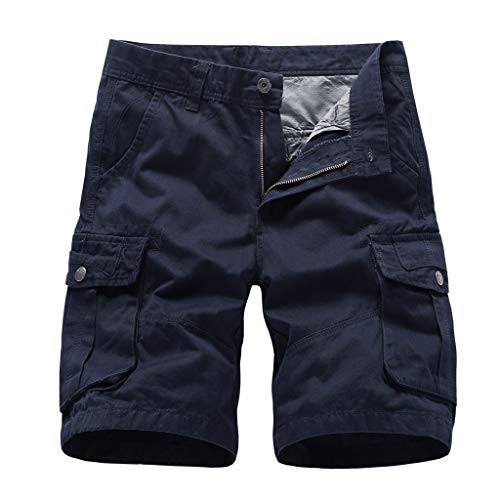 ZEFOTIM Casual Shorts for Men's Summer Outdoors Casual Loose Multiple-Pockets Cotton Overalls Beach Shorts(DarkBlue,38) ()