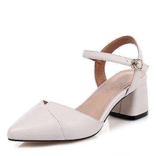 Mujer De Beige Un Sandalias De Par Baotou Zapatos Par Un De Sandalias Y QPSSP axRP7nTw