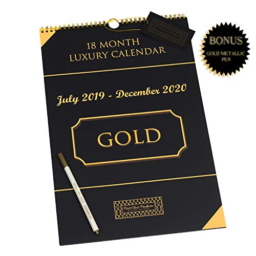 2019-2020 Wall Calendar - LUXURY - Black/Gold -18 Month- Large Hanging Wall Calendar - 11