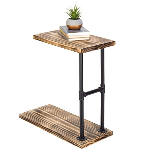 MyGift 18-Inch Burnt Wood Black Pipe C-Shaped End Table