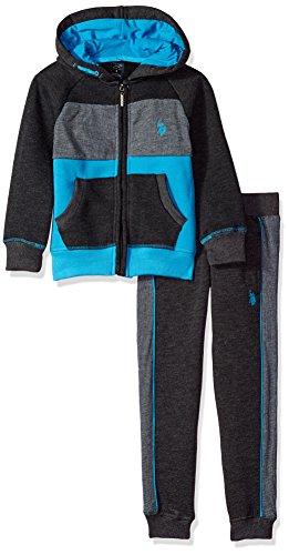 U.S. Polo Assn. Boys' 2 Piece Fleece Jog Set, Dark Heather Gray -