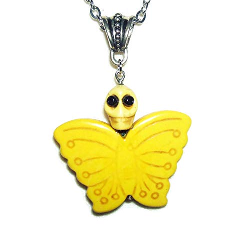 YELLOW MARIPOSA BUTTERFLY Necklace Pendant SUGAR SKULL DAY OF THE DEAD Silver Pltd ()