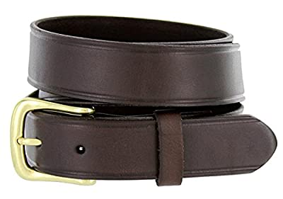 "Joe's Solid 100% Leather Uniform Work Genuine Leather Jean Belt 32mm or 1-1/4"" Wide"