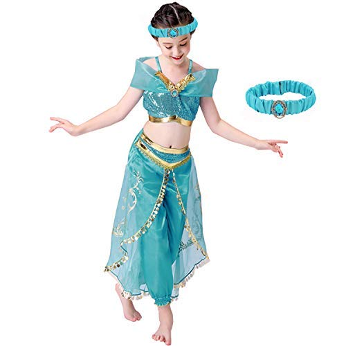 Abc Party Halloween Costumes (Girls Jasmine Costume Princess Dress - Aladdin Tacobear Arabian Halloween Party Cosplay for Kids Toddler Child)