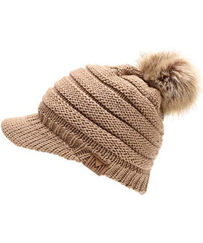 (MIRMARU Women's Soft Warm Ribbed Knit Visor Brim Pom Pom Beanie Hat with Plush Lining (Taupe))