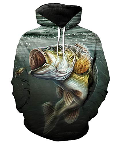 Unisex Cool 3D Fishing Hoodie Print Largemouth Bass Hooks Sweatshirt (Large) (Hoodie Kids Bass)