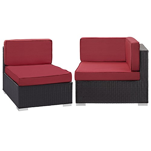 Modway Convene Corner and Middle Outdoor Patio Sectional Set, Espresso Red -