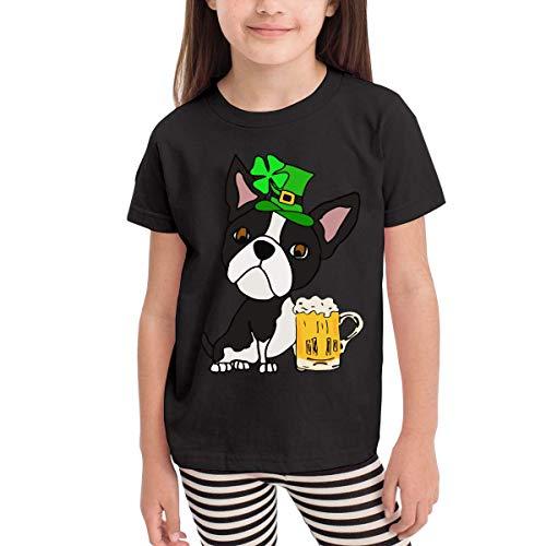 Boston Terrier Dog St. Patrick's Day Novelty Short Sleeve Shirt Tee Black]()
