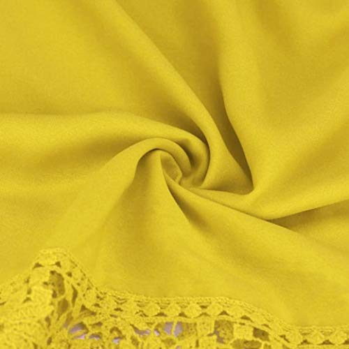Women Plus Size Hollow Out Lace Splice Long Sleeve Shirt Casual Blouse Loose Top(Yellow,Small) by iQKA (Image #2)