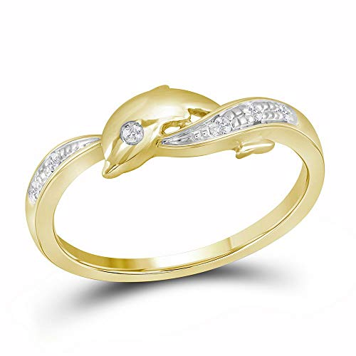 (FB Jewels 10kt Yellow Gold Womens Round Diamond Two-tone Dolphin Fish Animal Ring 1/20 Cttw (I2-I3 clarity; J-K color))