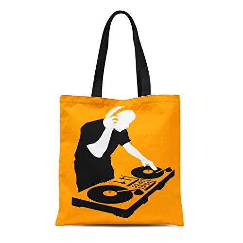 Semtomn Canvas Tote Bag Shoulder Bags Orange Party Silhouette of Dj Wearing Headphones and Scratching Women's Handle Shoulder Tote Shopper Handbag ()