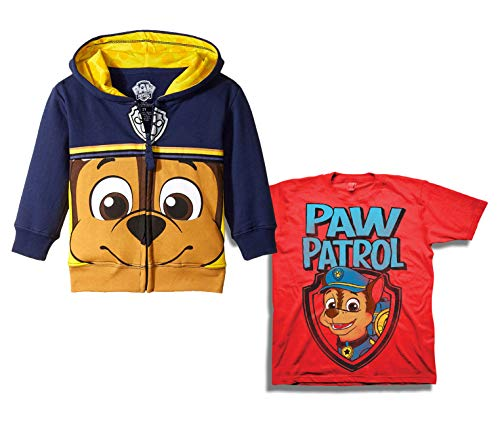 Paw Patrol Hoody and T-Shirt - 2 Pack of Nickelodeon Paw Patrol Hoodie and T-Shirt (Navy/Red, 3T)]()
