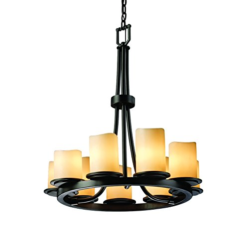Justice Design Group CandleAria 9-Light Chandelier - Matte Black Finish with Cream Faux Candle Resin Shade Matte Black Candlearia Chandelier