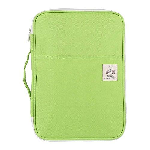A4 Document Bags Portfolio Handbag,Waterproof Multifunction Files Organizer Computer Notebook Handbag Storage Zippered Bag Great for Travel School Office(Light Green)