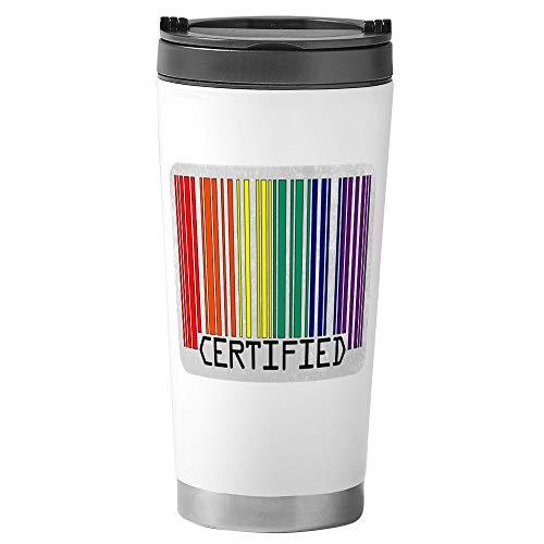 Stainless Steel Travel Drink Mug Gay Certified Pride Bar Code