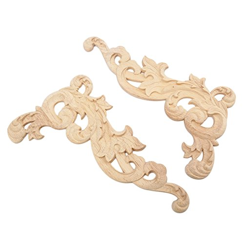 1pcs) European Style Wood Carved Corner Onlay Applique Frame Flower Unpainted Furniture Door Decor ()