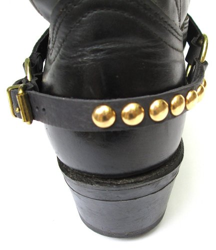 Western Boots Boot Chains, Black Leather with Gold Studs