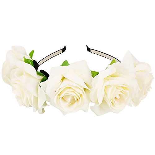 White Rose Headband (KQueenStar Rose Flower Crown Headband - Wedding Festival Hair Band accessories For Women)