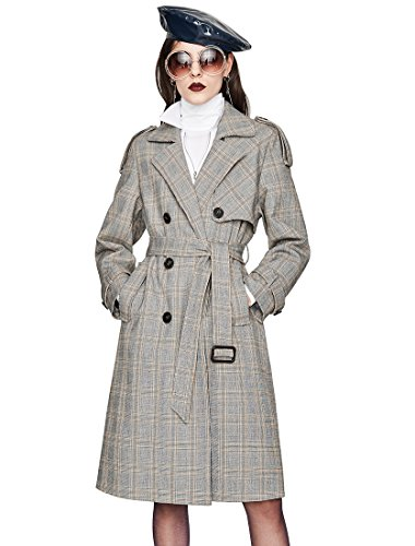 Murfhee Women's Vintage Plaid Double Breasted Suit Jacket Short Coat (X-Large, Plaid)