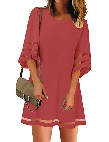 Lace Panel Mini - LookbookStore Women Casual Summer Crewneck Mesh Patchwork 3/4 Bell Sleeve Loose A-line Tunic Dress Tea Rose Size X-Large