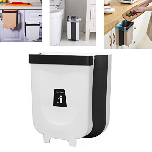 Kitchen Trash Can, Office Bathroom Car Garbage Can, Cabinet Small Trash Bin, Plastic Folding Waste Basket White