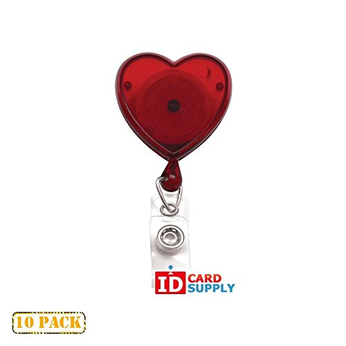 10 x Red Heart Shaped Badge Translucent Badge Reels by (Heart Shaped Badge Reel)