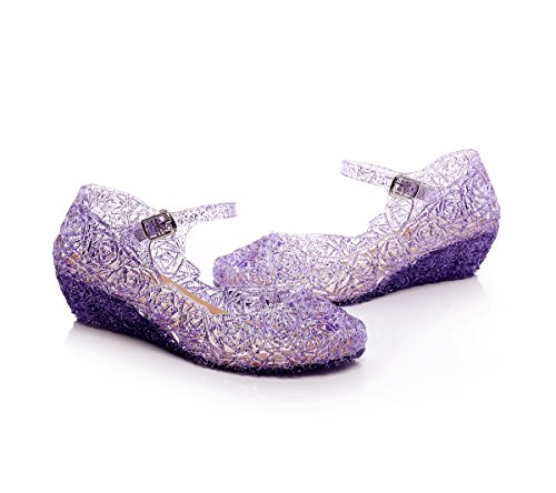 Jelly Sandal for Girls Princess Girls' Sparkle with LED Light Dress Up Cosplay Heel Jelly Shoes Size (2 M US Little Kid Without Light, Purple Without Light) -