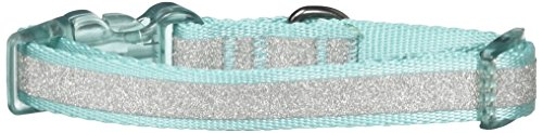 Diva Dog Bows - Bow & Arrow Adjustable Nylon Dog Collar with Sparkly Silver Glitter Stripe, Teal, Small