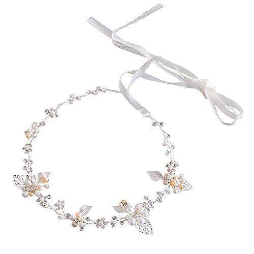 Rhinestone Crystal Wedding Bridal Floral Leave Headband Hair Vine Tiara with Ribbon Belt (Silver)