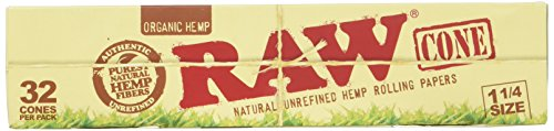RAW Organic Unrefined Pre-Rolled Cone 32 Count (1 1/4 Size)