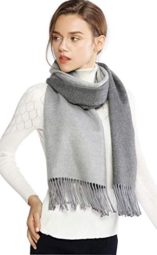 LeoIn Women Long Warm Winter Cashmere Soft Scarf 2 Tone Shawls Wraps (Double Side Grey)