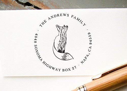 Self-Inking Return Address Stamp, Pre-Inked Custom Rubber Stamp, Cute Fox Design, Wedding Invitation Stamp, Save the Date Stamp (Inked Fox)