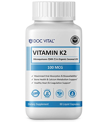 Premium Vitamin K2 (MK7) with Organic Extra Virgin Coconut Oil | NEW NON-GMO, Vegan, Soy-Free Vitamin K-2 for Heart and Bone Health - 100 MCG of Menaquinone-7 (MK-7), 60 Veggie Liquid Softgel