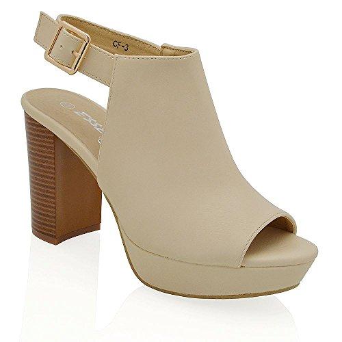 Essex Glam Cuero Sintético Zapatos de punta abierta con plataforma, tacón cuadrado y cordones en la parte trasera del tobillo Desnudo Cuero Sintético