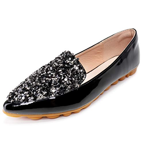 (Cattle Shop Flats for Women Rhinestone Pointed Toe Sequins Glitter Loafers Flat Shoes Black)