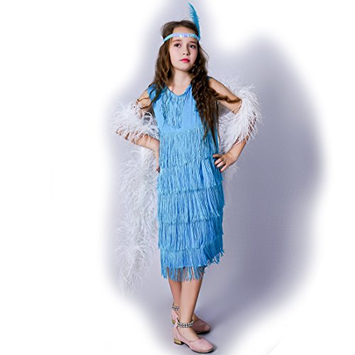 flatwhite Girl 's Fashion Flapper Satin Dress Costume for Children (4-6 Y, Blue)